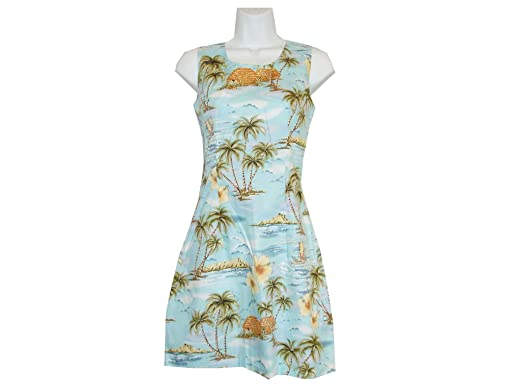 1746d80b7464 KY'S Women Hawaiian Diamond Head Palm Tree Hibicus Tank Dress (Blue, ...