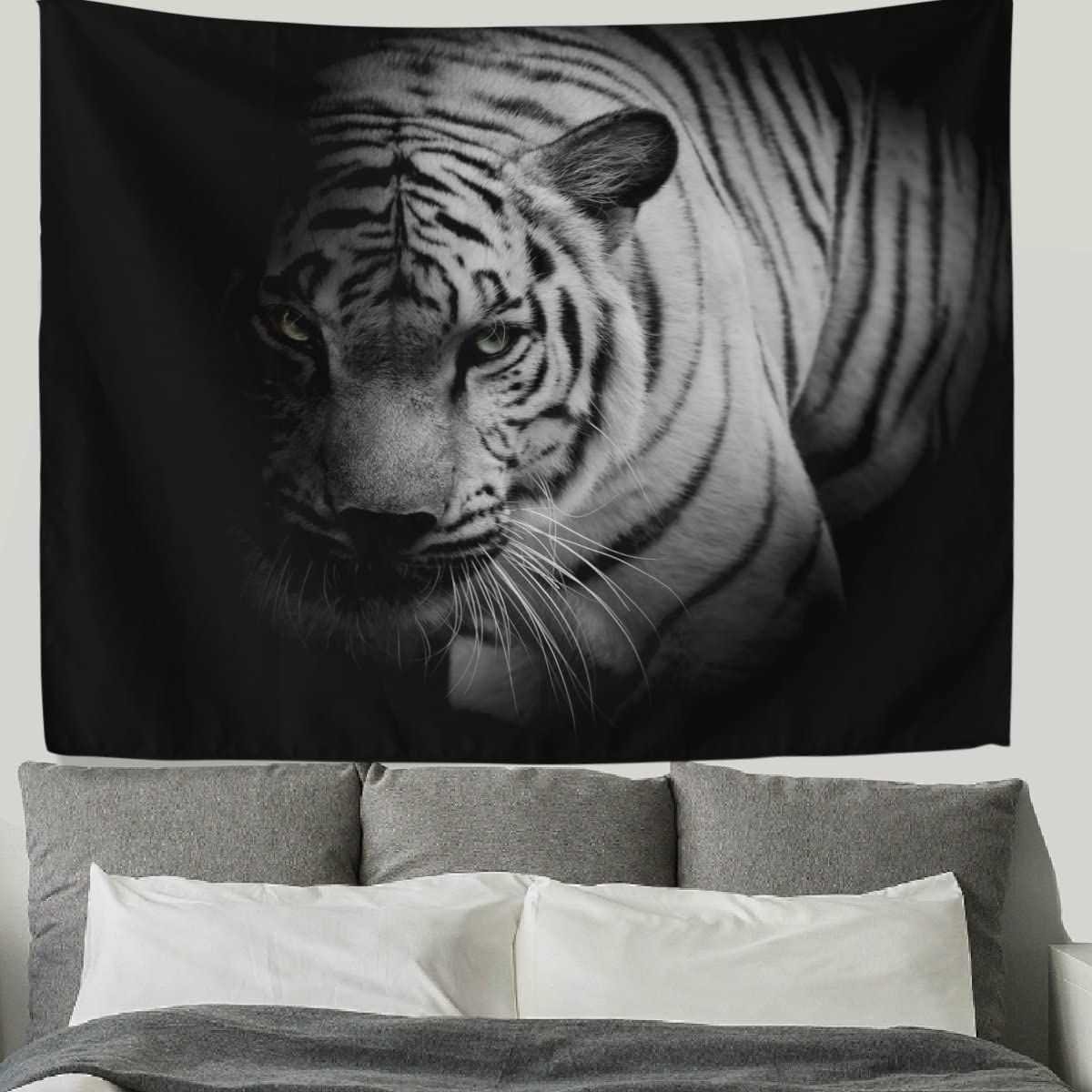 HMWR 90×60 Inch Tiger Tapestry Wall Hanging Cool Animal Bengal White Tiger Print Wall Fabric Tapestry Throw Artwork Home Decoration for Living Room Bedroom Dorm