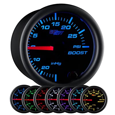 "GlowShift Black 7 Color 30 PSI Turbo Boost/Vacuum Gauge Kit - Includes Mechanical Hose & T-Fitting - Black Dial - Clear Lens - for Car & Truck - 2-1/16"" 52mm: Automotive"