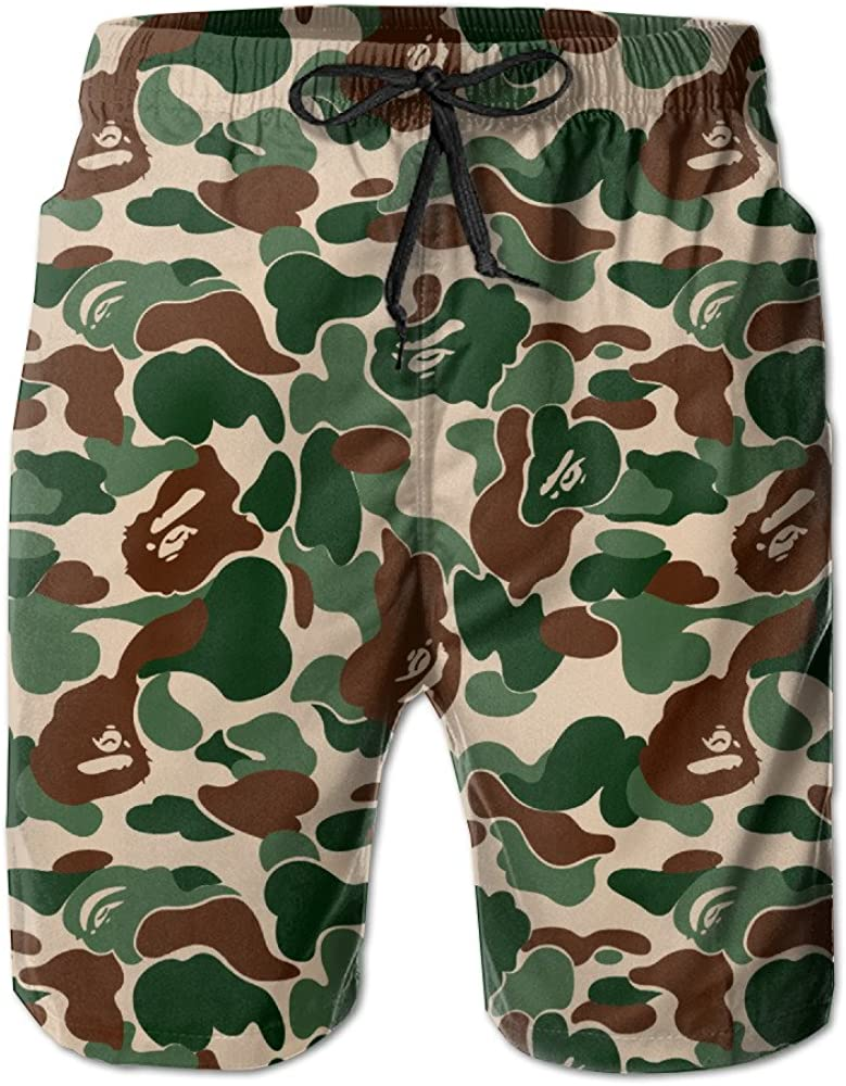 Dots Lines Funny Sport Mens Beach Shorts Breathable Surfing Trunks with 3 Pockets