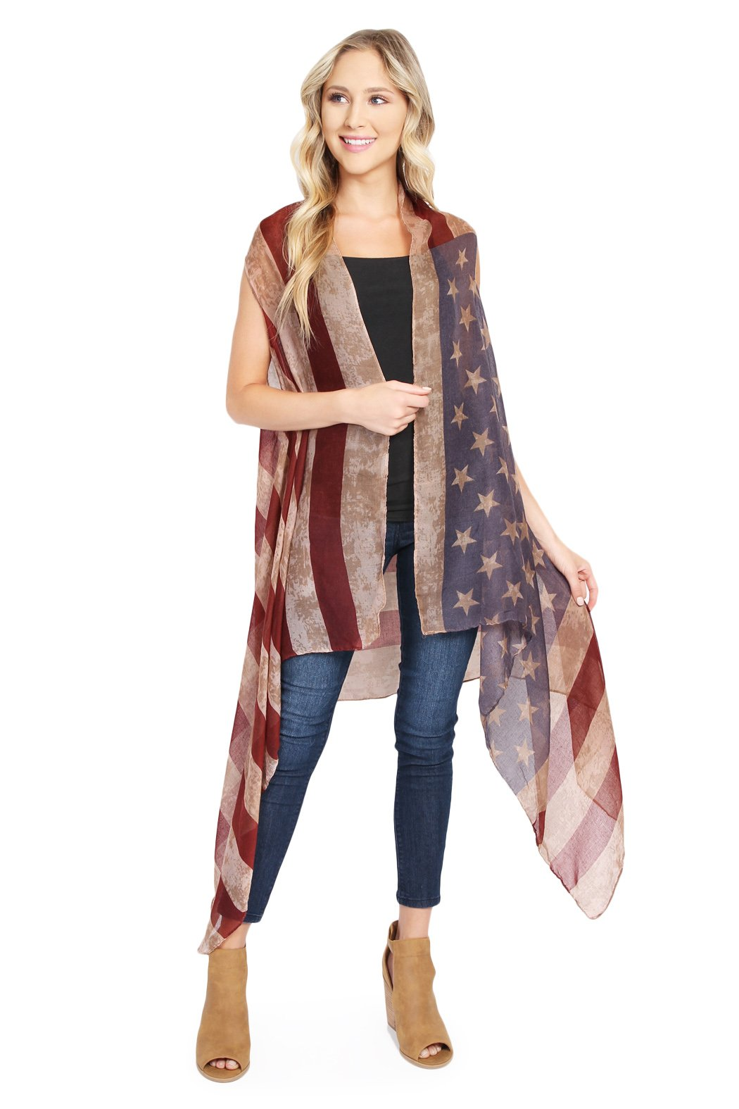 MYS Collection American Flag Cardigan - July 4th USA Stars and Stripes Pattern Lightweight Shawl Kimono Vest