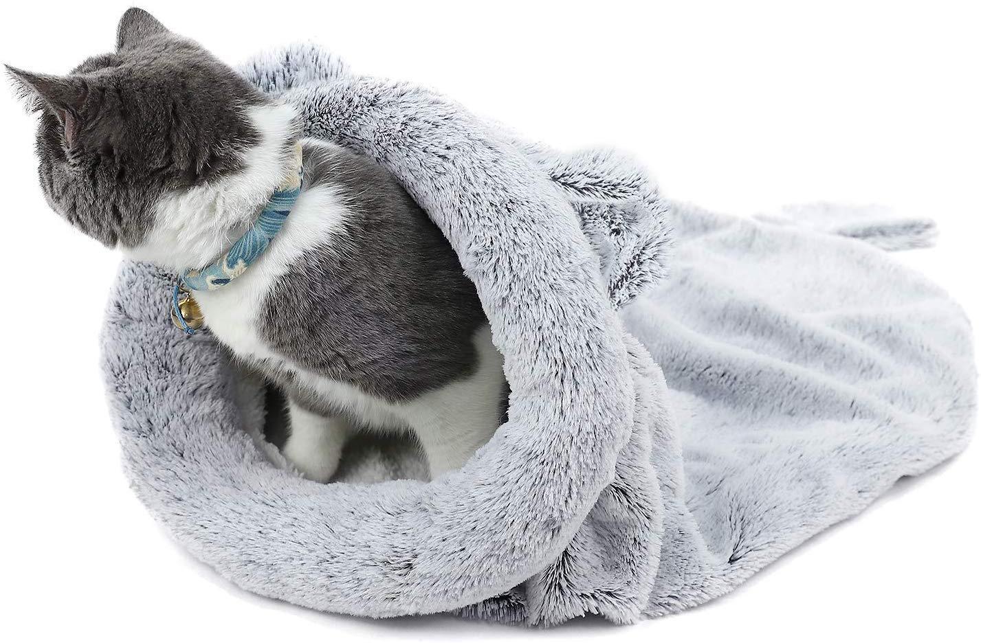 PAWZ Road Gatto Sacco a Pelo Vello Morbido Caldo Lavabile Letti di Gatto Sacco di Coccole Coperta Stuoia per Gattino Cagnolino Argento Grigio