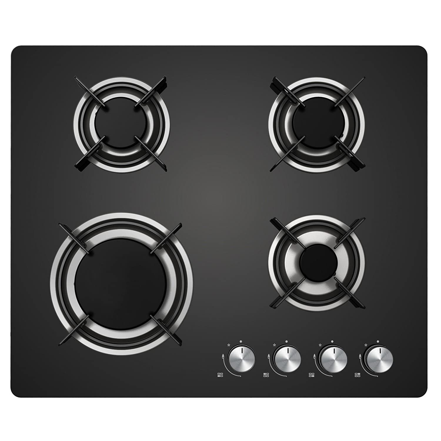 Cookology Gas-on-Glass Hob | 60cm, Built-in, Black Glass Cooktop & Auto Ignition GGH-600-BK