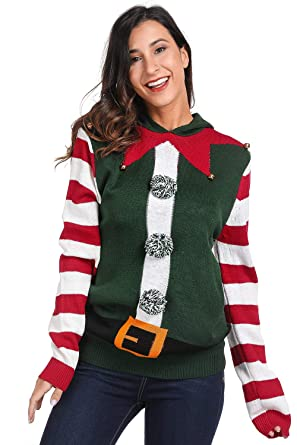 e4307dda6f For G and PL Xmas Women Kint Sweatshirt Cute Ugly Costume Funny Sweater  Stripe Elf XS