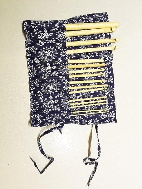 DeliaWinterfel 16 Unidades Agujas de Ganchillo de bambú 15cm/6 con Estuche (Kit de Agujas de 2mm - 12mm) - para Hacer Punto by