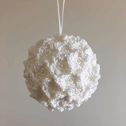 christmas ornament white christmas decoration crochet christmas ball christmas flowers decor christmas