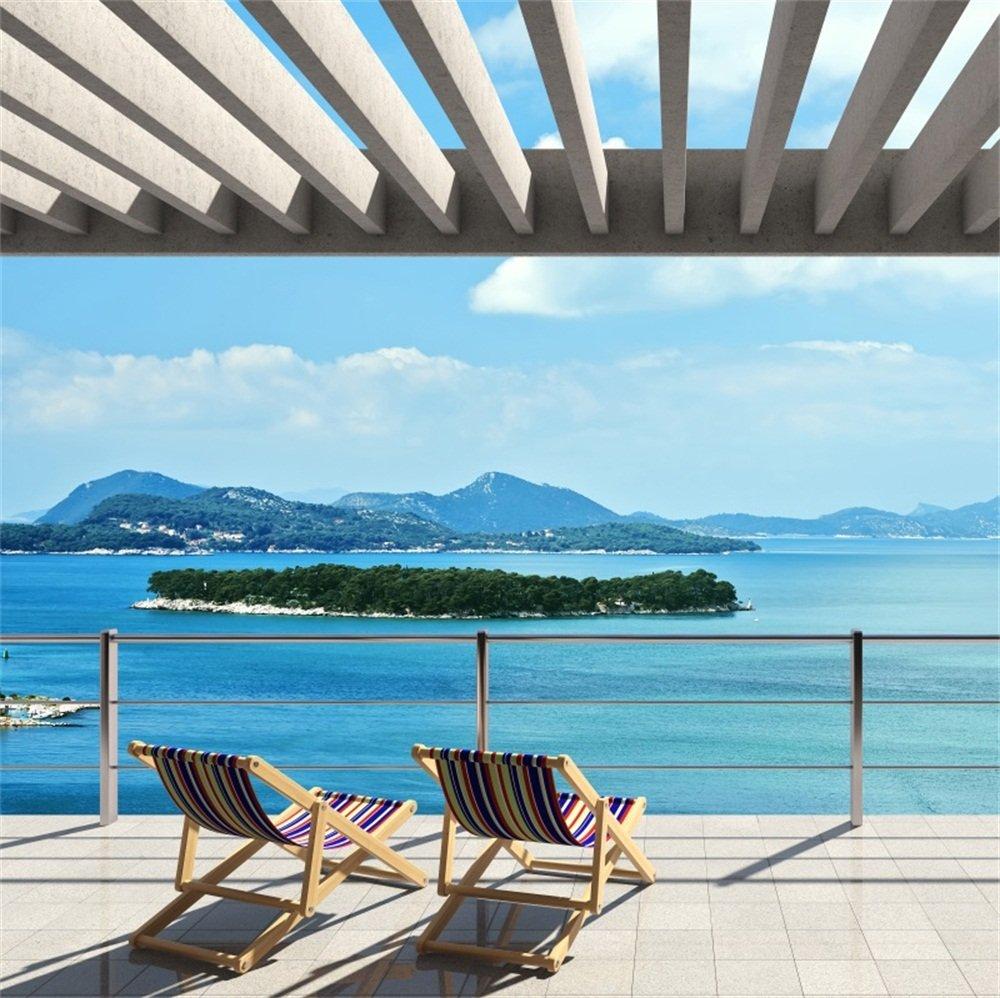 lfeey 6 x 6ft Sunshine Beaside Viewing Room Backdrop夏ビーチ椅子ブルーSky Sea Island MountainシースケープWharf写真背景旅行Holidayハワイアンフォトスタジオ小道具   B07F7WH422