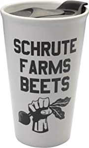 The Office Schrute Farms Beets 16oz Ceramic Travel Mug - Spill Proof Lid Makes it a Perfect On The Go Coffee Travel Mug - Great Gift for Office Fans - Official the The Office Merchandise