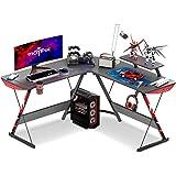 "MOTPK L Shaped Gaming Desk 51"" L Shaped Desk, Real Carbon Fiber Coated, Gaming Desk Table with Large Monitor Riser Stand for"