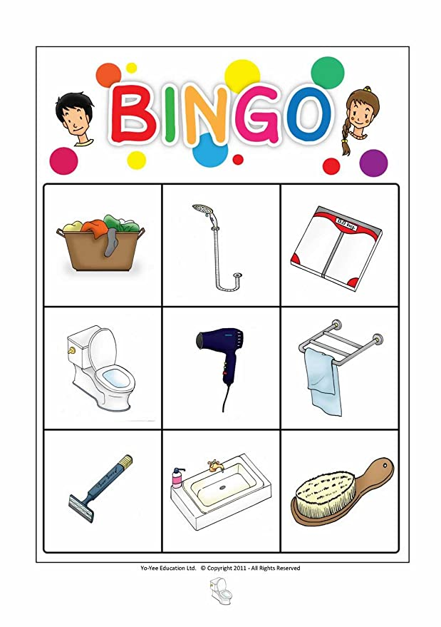 Amazon.com: Bathroom Flash Cards in Spanish Language with Matching Bingo Game in One Set - Vocabulary Picture Cards for Toddlers, Kids, Children and Adults: ...