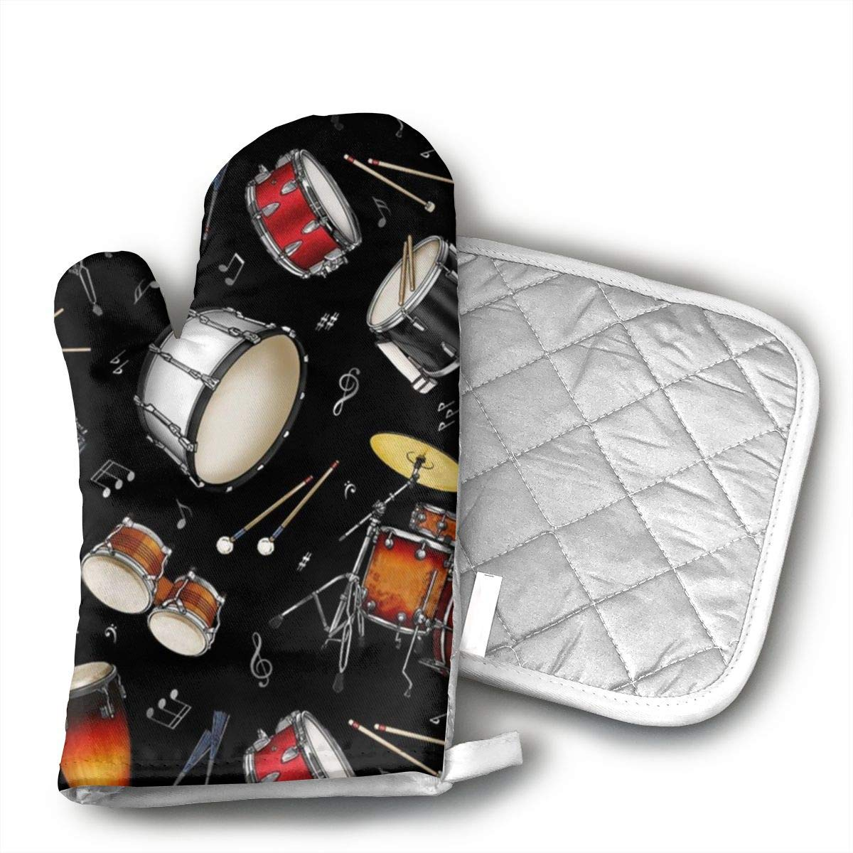 Wiqo9 Rock Drum Stand Oven Mitts and Pot Holders Kitchen Mitten Cooking Gloves,Cooking, Baking, BBQ.