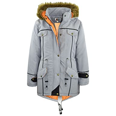 A2Z 4 Kids® Kids Jacket Designers Silver Parka Coat Faux Fur Hooded Top Christmas Gift
