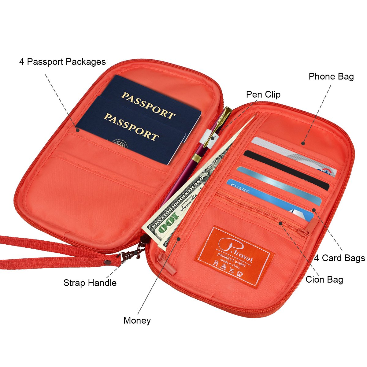 Homchen Document Organiser Case Credit Card Holders for Men and Women RFID Blocking Travel Passport Wallet Holder Large Black-RFID