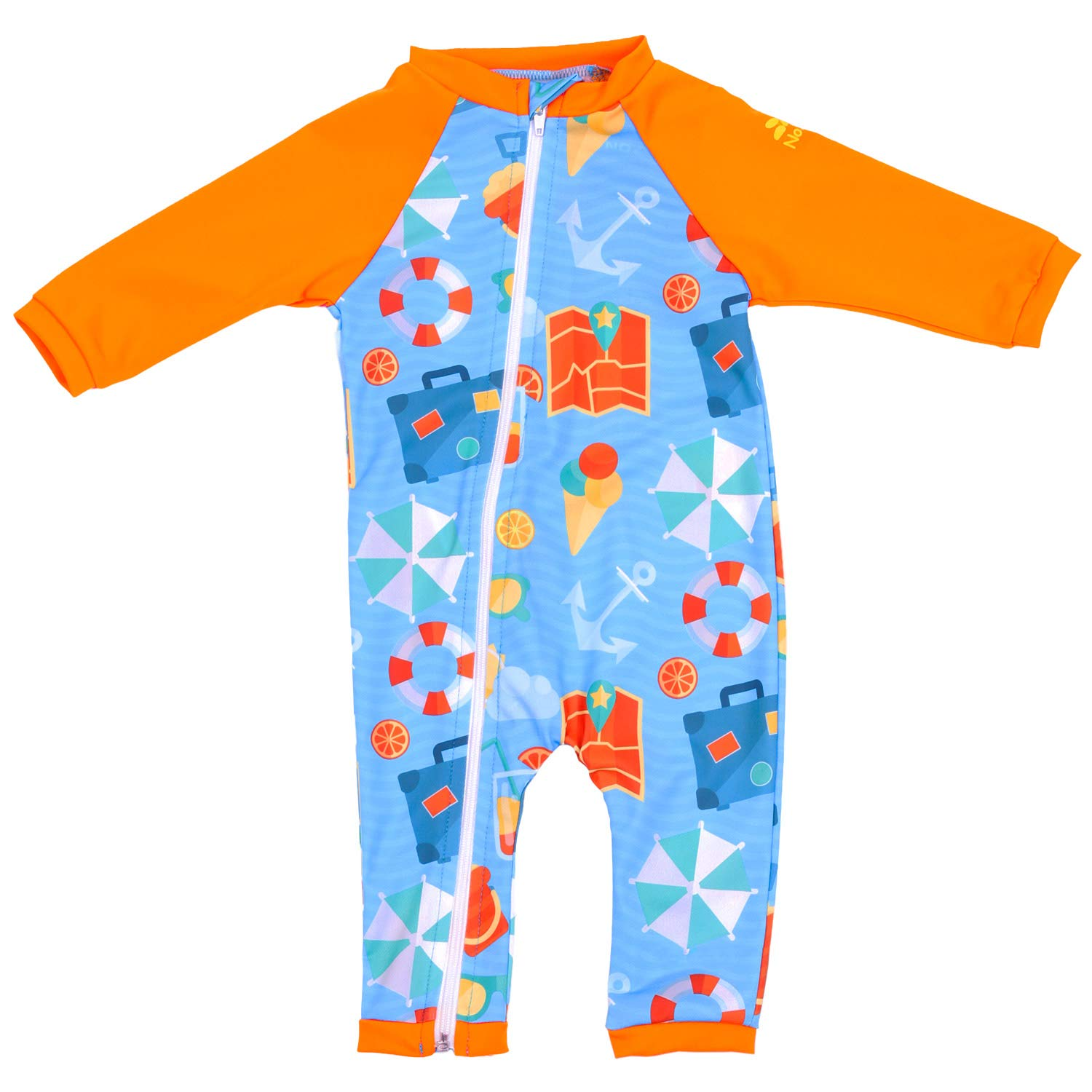 UPF 50+ Nozone Full Zip Sun Protective Baby Swimsuit in Your Choice of Colors