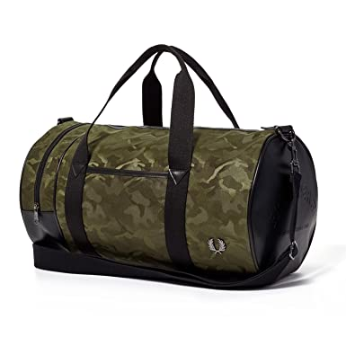 5cba5e95b Image Unavailable. Image not available for. Color: Fred Perry Jacquard  Military Green Camo Barrel Bag