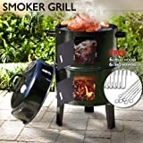3 in 1 Portable Charcoal Vertical Smoker BBQ Lover Roaster Grill Steel Steamer