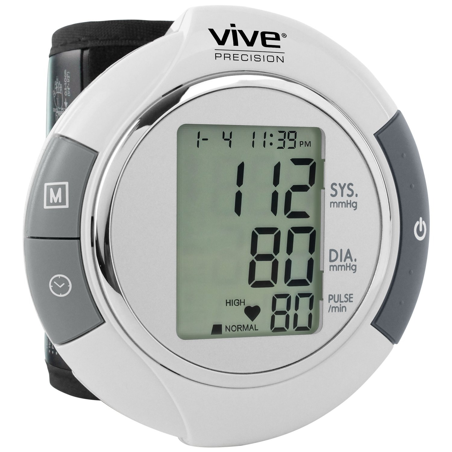 Vive Precision Wrist Blood Pressure Monitor - Automatic Digital BP Tester Machine - Portable, Accurate, Electronic, Home Meter Device - Auto Heart Reader for Pulse Rate - 1 Size Fits Most