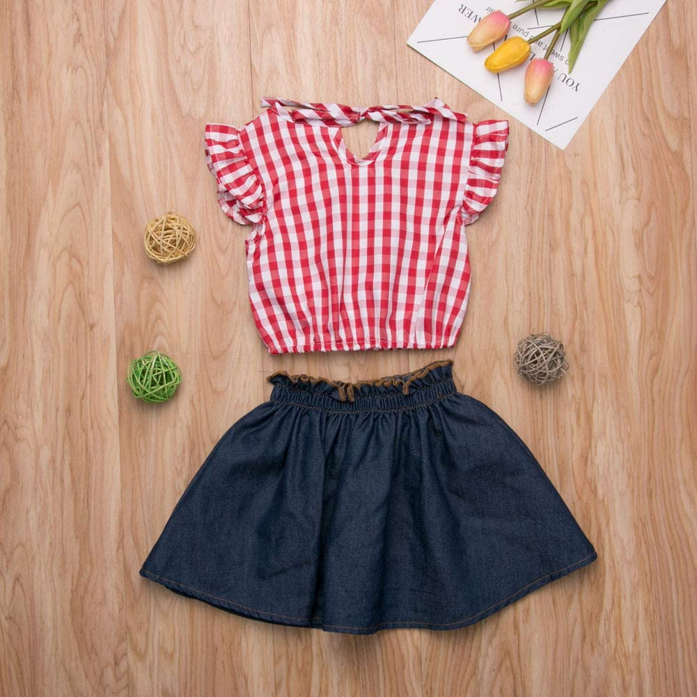 2Pcs Toddler Baby Girl Clothing Set Plaid Off Shoulder Crop Top+Lace Denim Shorts Outfits Clothes