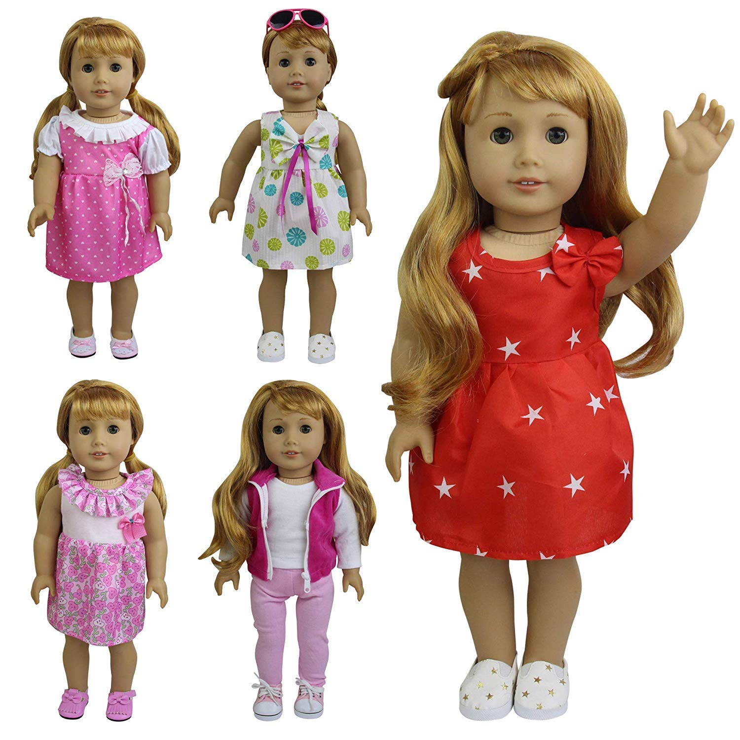 ZITA ELEMENT 5 Sets Fashion Handmade Clothes Dress for American 18 inch Girl Doll Outfits and Other 18 Inch Dolls Accessories