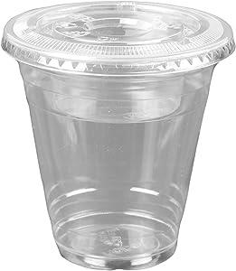 12oz Clear Plastic Cups w/ 4oz Parfait Insert & Lids (3-piece) Dessert Cups (50 Count, Flat Lids - No Hole)