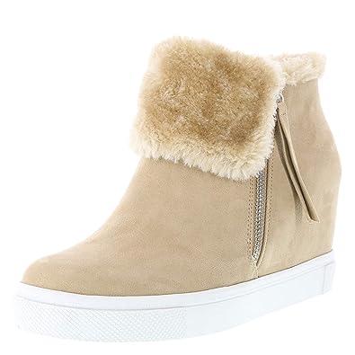 f4e583982e Amazon.com | Brash Women's Fur Cece Hidden Wedge Casual | Shoes