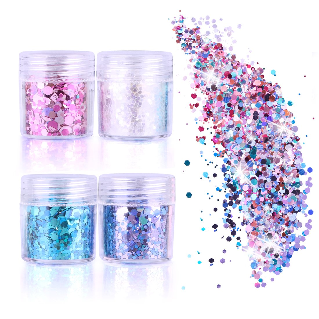 GeMoor Face Glitter Chunky Glitter Cosmetic Glitter Sparkle Decoration Glitter Hair Body Face and Nails 4 Colour