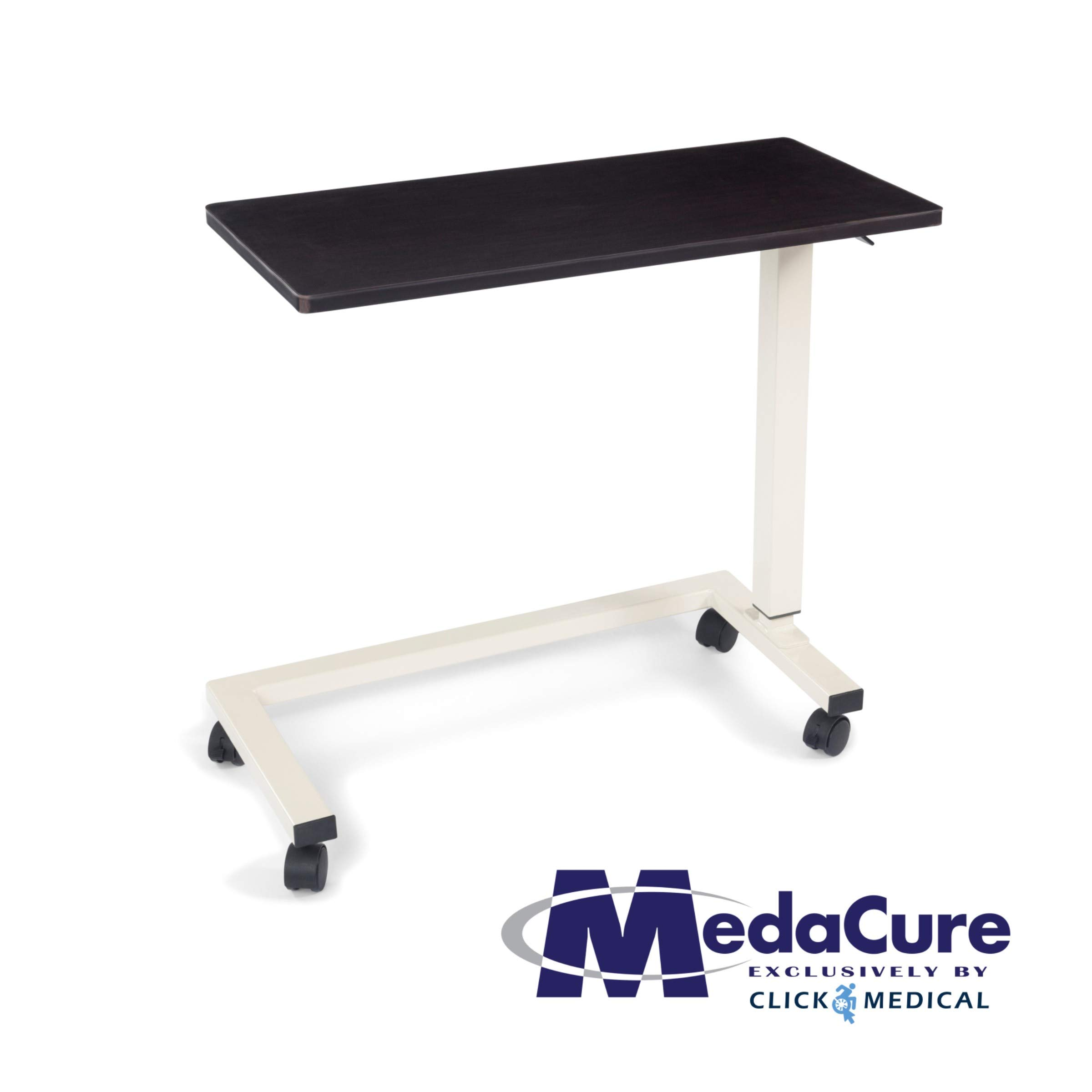 Medical Height Adjustable Overbed Table - Flame Resistant and Anti-Spill Rim - Heavy Duty Steel Frame and Swivel Locking Casters for Home, Hospital,Laptop,Reading – 50lb Weight Capacity. (Mahogany)