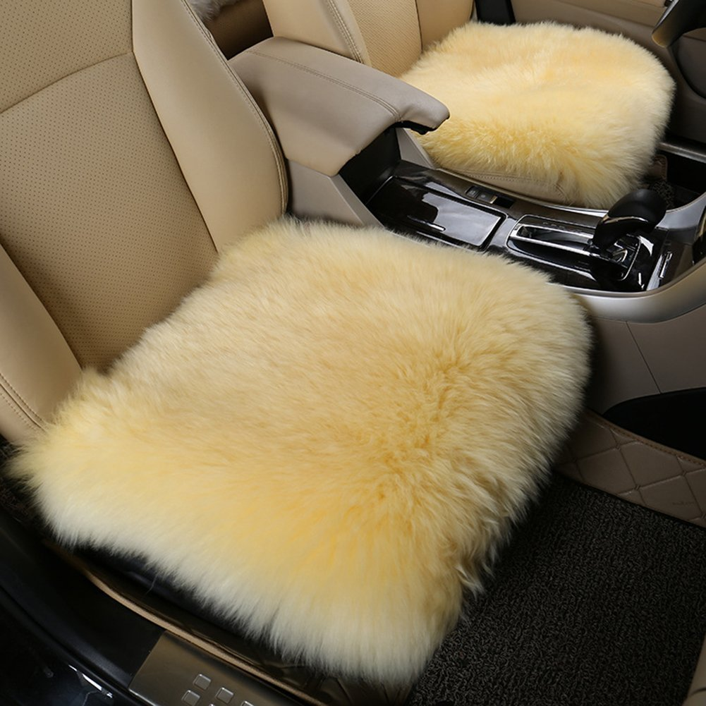 18 inch x 18 inch Altopcar Wool Car Seat Cushions Home Soft Square Sheepskin Seat Cover Pad Fluffy Chair Cover Area Rug Universal Auto Beige Office