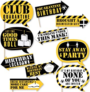 product image for Big Dot of Happiness Funny Happy Quarantine Birthday - Social Distancing Party Photo Booth Props Kit - 10 Piece