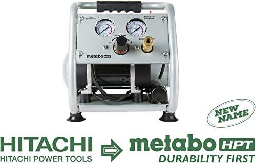 Metabo HPT Air Compressor, Ultra-Quiet 59 dB, Portable, Oil-Free Pump, 1-Gallon Tank Capacity, Steel Roll Cage w Rubber Grip, Compact and Lightweight, 1-Year Warranty, EC28M