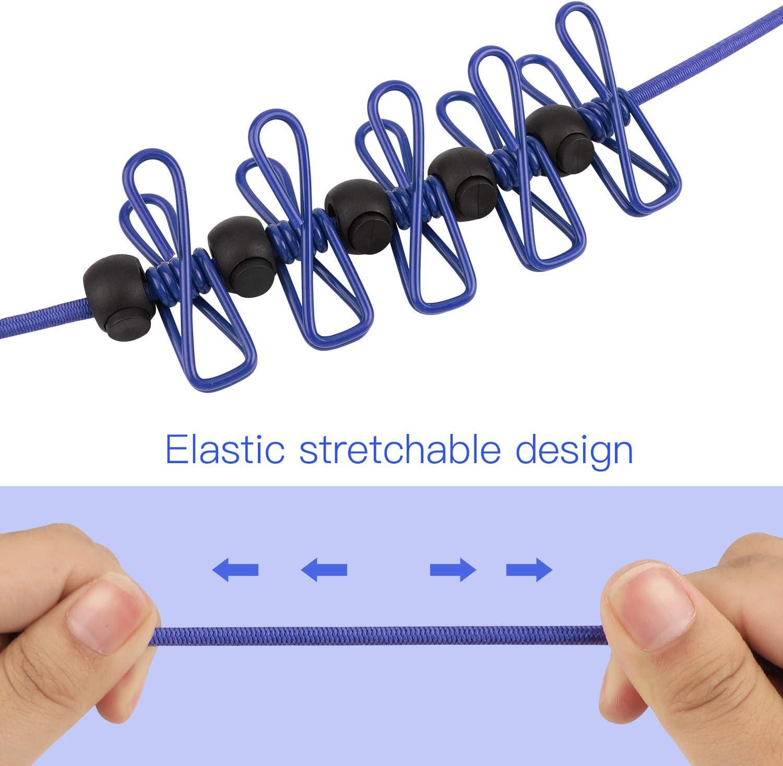 OOTSR Corde /à linge /élastique de voyage et 12 pinces /à linge avec 25 clips antid/érapants Bleu corde /à linge r/églable Corde /à linge /élastique pour lint/érieur et lext/érieur