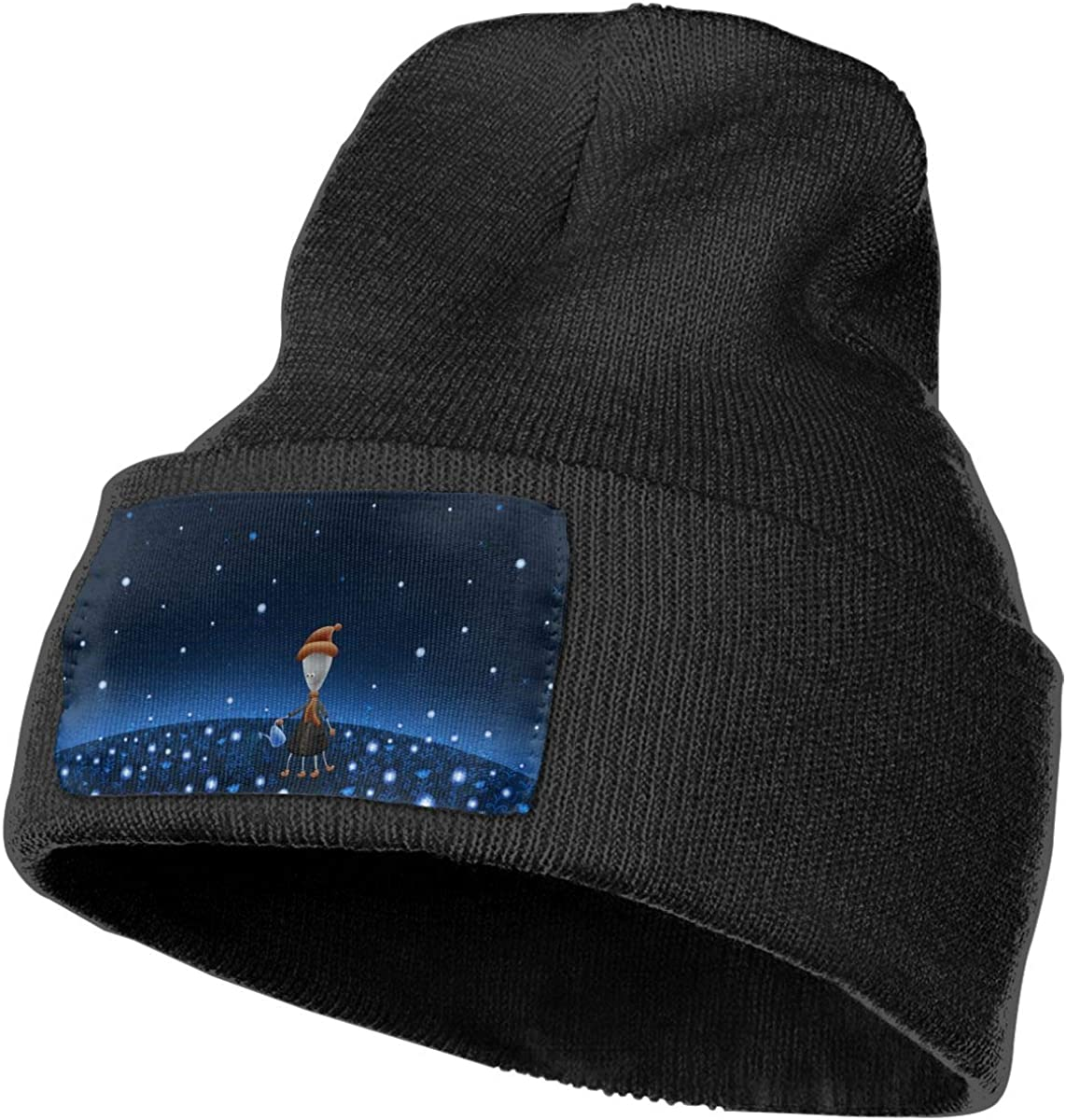 JimHappy Water Flowers Hat for Men and Women Winter Warm Hats Knit Slouchy Thick Skull Cap Black
