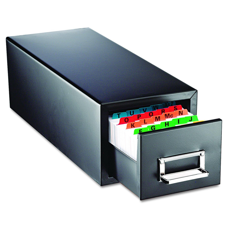 SteelMaster 263F3516SBLA Drawer Card Cabinet Holds 1,500 3 x 5 cards, 7 3/4 x 18 1/8 x 7 by STEELMASTER
