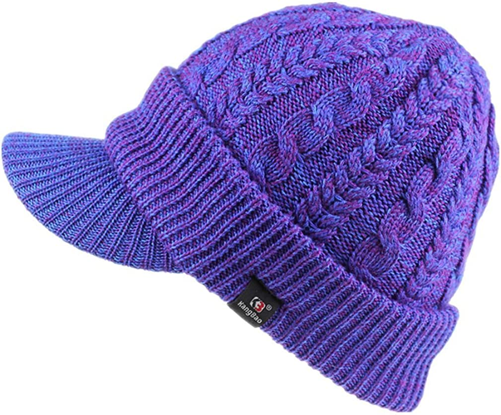 LLmoway Mens Outdoor Winter Newsboy Visor Hat Thick Warm Cable Knit Beanie