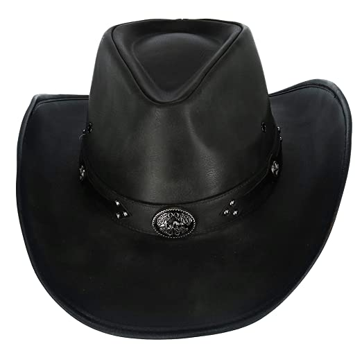 Kenny K Men s Distressed Faux Leather Western Hat with Black Conchos ... 984fdbf9f2e