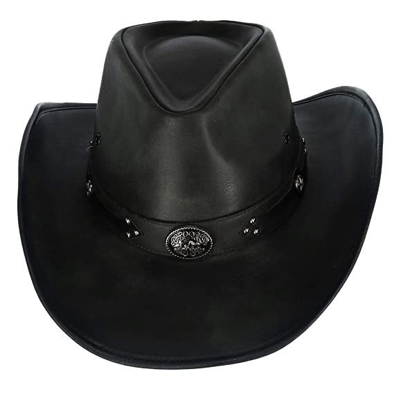 c3ab63593c673 Kenny K Men s Distressed Faux Leather Western Hat with Black Conchos and  Studs  Amazon.co.uk  Clothing