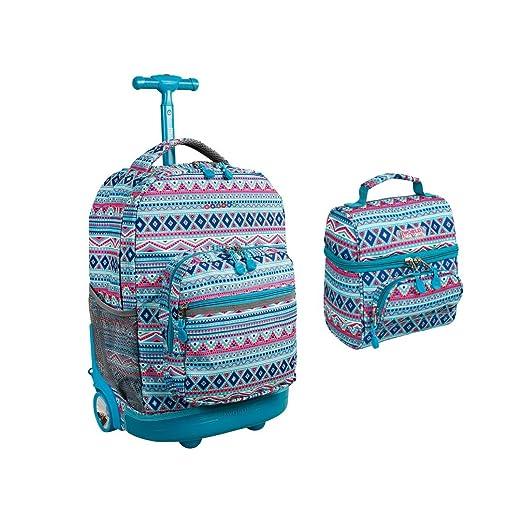 f92df71a73 J World Sunrise Roller Backpack Back Pack and Corey Lunch Bag Bundle Set,  Mint Tribal