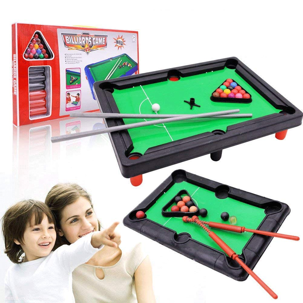Mini Tabletop Pool, Billiards Game Tabletop Pool Petite Billiards with Smaller Mini Pool Table for Adult and Chindren, 2 PCS by Shindel