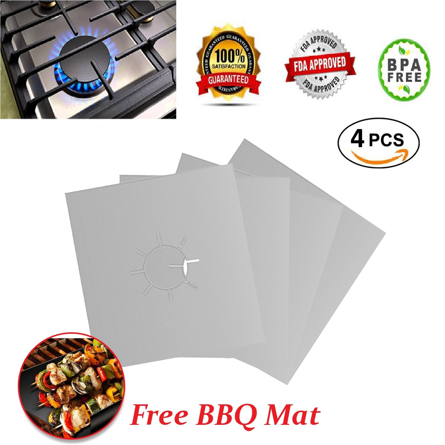 Gas Range Protectors, Reusable Stove Burner Covers, Gas Cook top Cover, Non Stick- Hob Stove top Liner Cover with 1 BBQ Mat - FREE - 10.6'' x 10.6'' -0.12 mm thick, FDA Approved (4 PACK -Silver) by Cookeezy