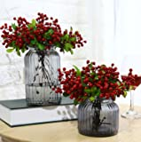 Mistari 10 Pcs Plastic Artificial Flowers California Berries Blueberry Fruit Fake Silk Flowers Home Decorative Party Wedding (Red)