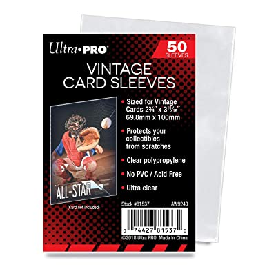 Ultra Pro Vintage Card Sleeves - Clear Sleeves For Vintage Baseball Cards and Memorabilia, 50 Count - Pack of 3: Sports & Outdoors