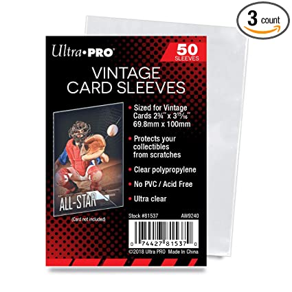 Ultra Pro Vintage Card Sleeves Clear Sleeves For Vintage Baseball Cards And Memorabilia 50 Count Pack Of 3