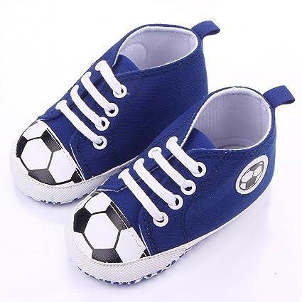 etrack-online Baby Boy Primera Walkers Cute patrón de fútbol deportes zapatillas zapatos azul azul
