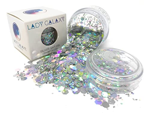 Multicolour Chunky Glitter for Festivals (Silver Saturn) by LADY GALAXY ✮ Large Chunky Glitter Makeup for Face, Body, Hair, Nails ✮ Holographic Glitter Shapes in Pink, Aqua, Silver, Turquoise, Purple
