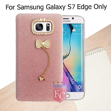 KC Pendant Diamond Gold Thin Soft Samsung Galaxy S7 Edge Back Cover for Girls  Purple