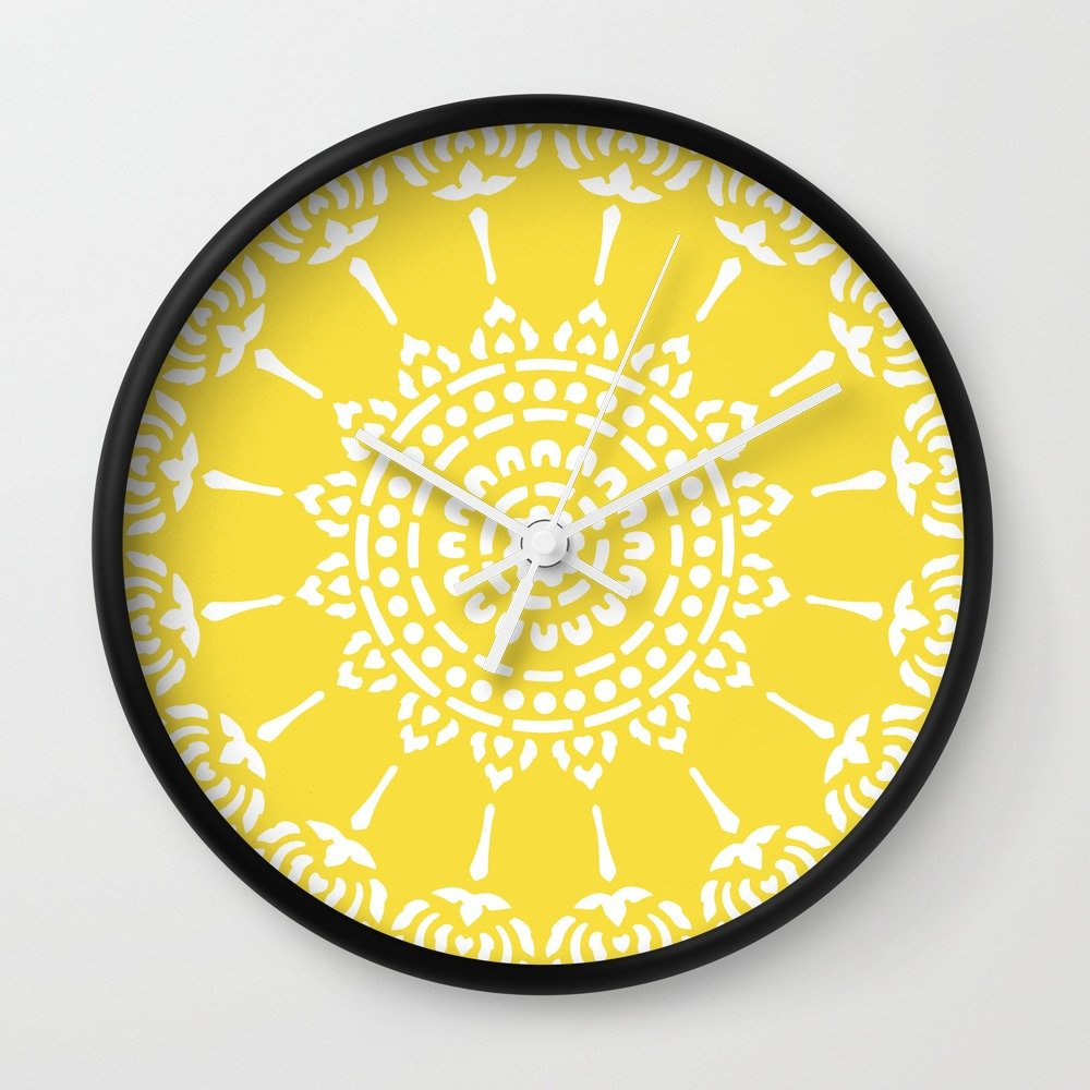 Society6 Thai Sun Yellow Wall Clock Black Frame, White Hands by Society6