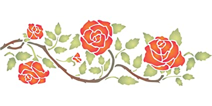 Rose Border Stencil   (size 14.5u201dw X 4.5u201dh) Reusable Wall Stencils