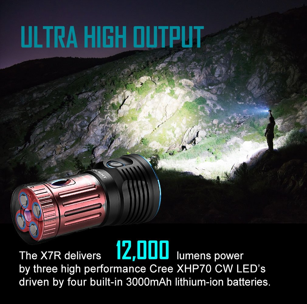 Bundle: olight x7r marauder rechargeable flashlight cree LED 12000 lumen most user-friendly ultra bright flashlight updated verions of olight x6 marauder with olight patch by Olight (Image #9)