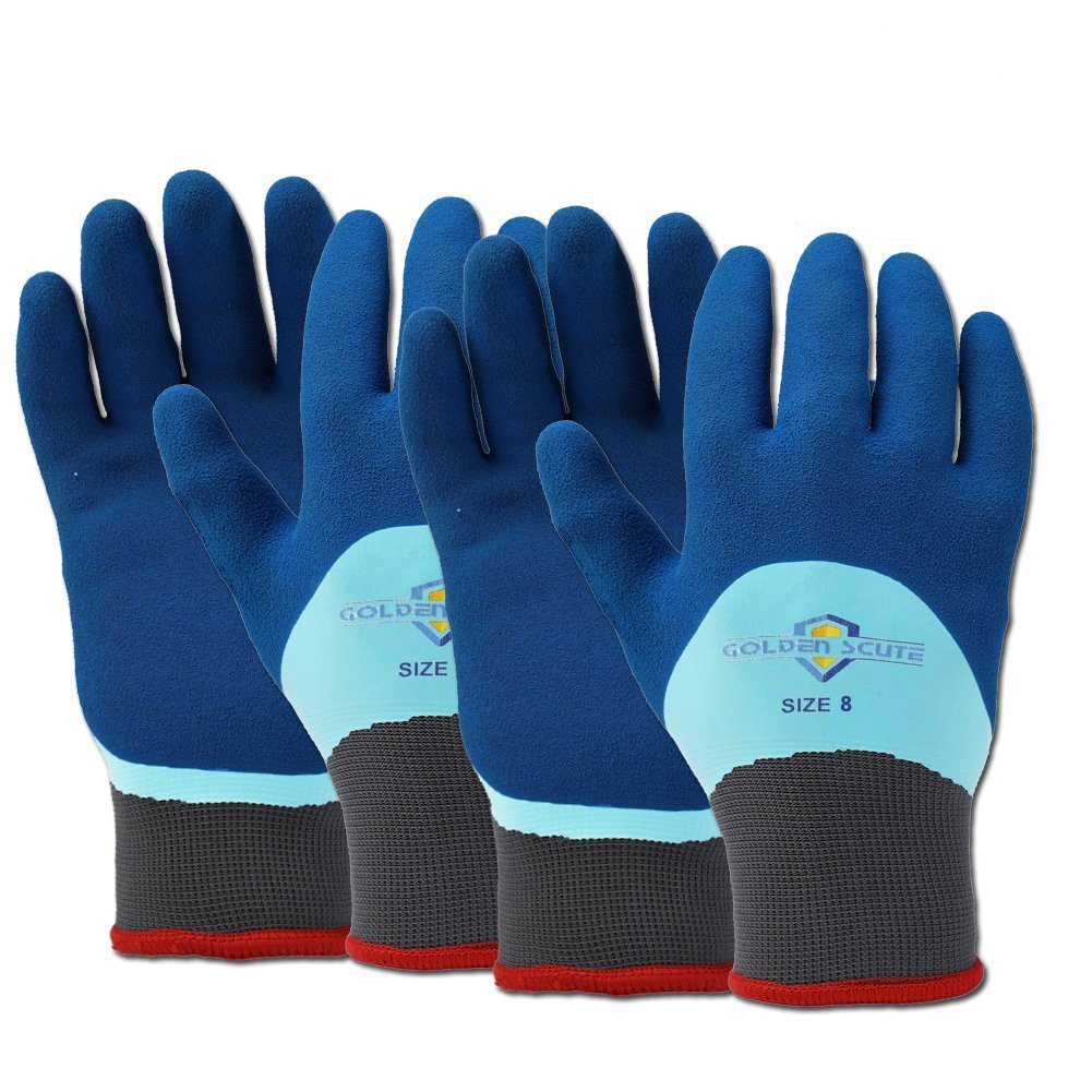 Golden Scute Freezer Winter Work Gloves, Double Lining Textured Rubber Latex Coated, Cold Weather Gloves for Shoveling Snow, Outdoor Heavy Duty Work, 2 Pairs (Medium/Size 8)