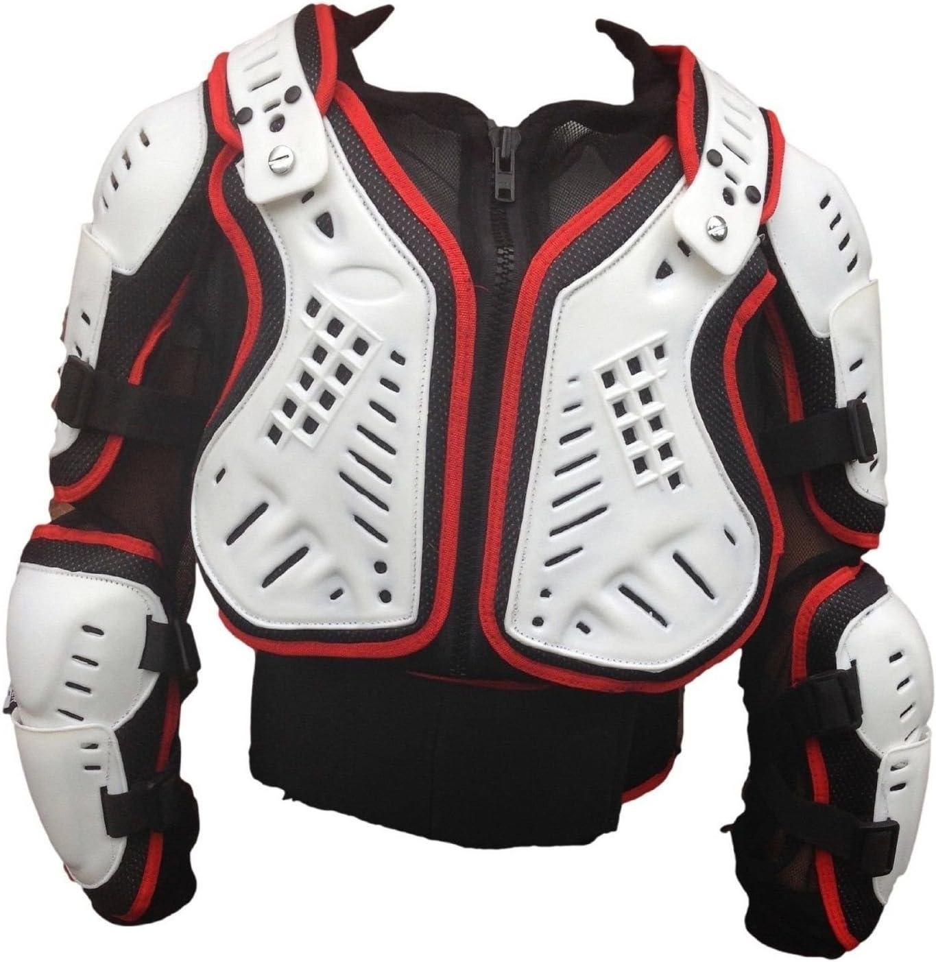 XTRM bambini motocross approvato pieno petto Body Armour bianco rosso